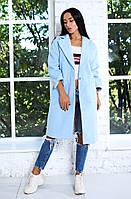 Нежно-голубое осеннее стильное женское молодежное прямое кашемировое пальто на одной пуговице. Арт-9391/6, фото 1