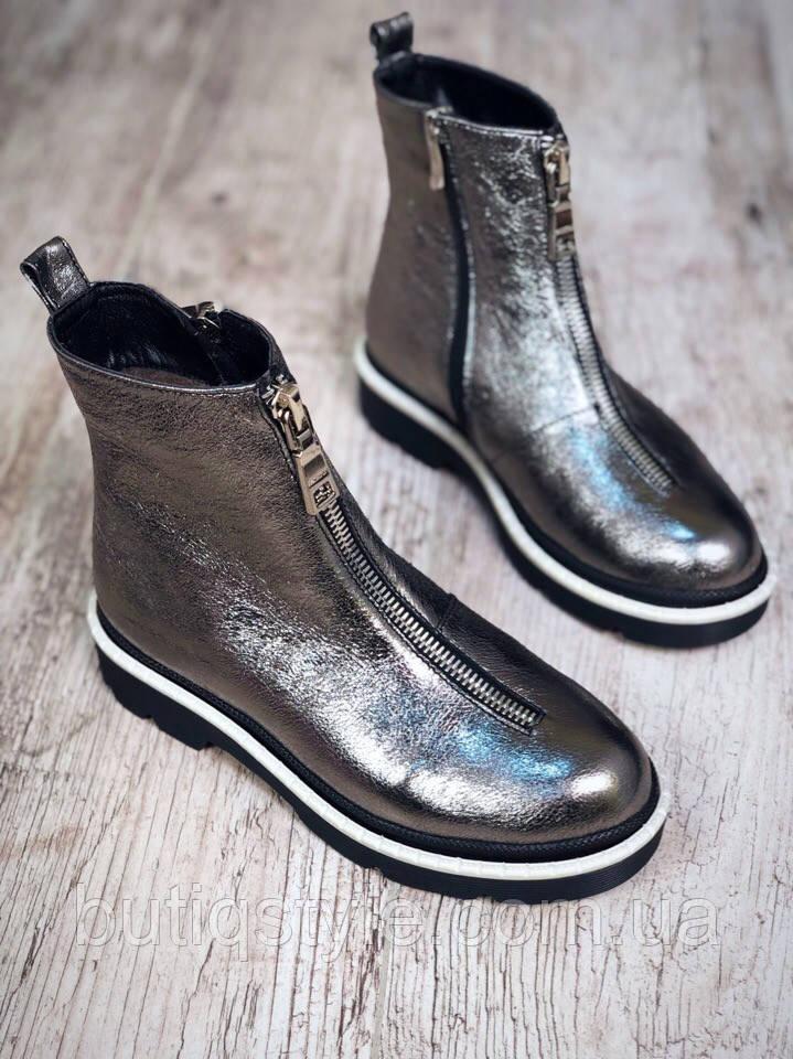 Осенние ботинки DeLux New с молнией спереди никель натуральная кожа