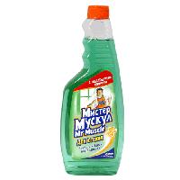 Средство для мытья стекол сменный зеленый 500 мл Мистер Мускул