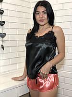 Чорна майка з мереживом і шорти ТМ EXclusive, піжама 054., фото 1