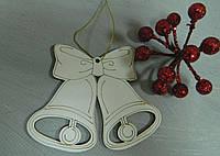 Новорічна дерев'яна підвіска дзвіночки 10*8,5 см Новогодняя деревянная подвеска колокольчики
