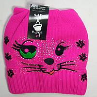 """Шапка детская """"Кошка"""" розовая зимняя с отворотом"""