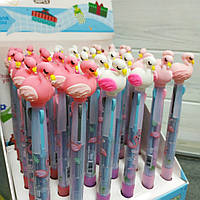 Ручка шариковая 3-ех.цветная  Фламинго