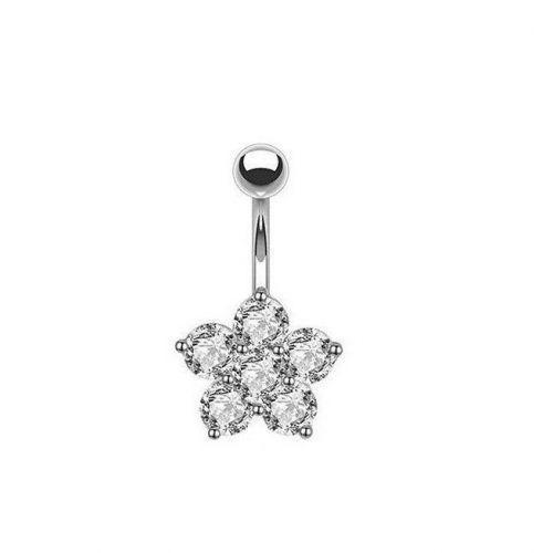Серьга пирсинг пупка белый цветок шесть круглых кристаллов