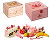 Дерев'яна іграшка Продукти на липучці, солодощі, фрукти, посуд, у валізі