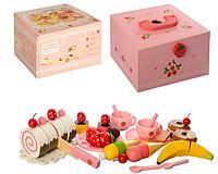 Дерев'яна іграшка Продукти на липучці, солодощі, фрукти, посуд, у валізі, фото 1