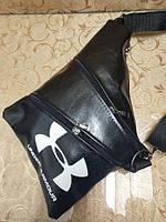 Барсетка слинг на грудь, через плечо Under Armour черная экокожа, фото 1