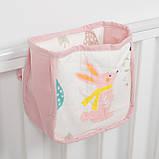 Детский карман - органайзер 17х19 тканевый на деткую кроватку подвесной для хранения игрушек и книг, фото 3