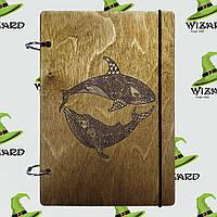 Скетчбук с деревянной обложкой А5 лак Касатки, фото 1