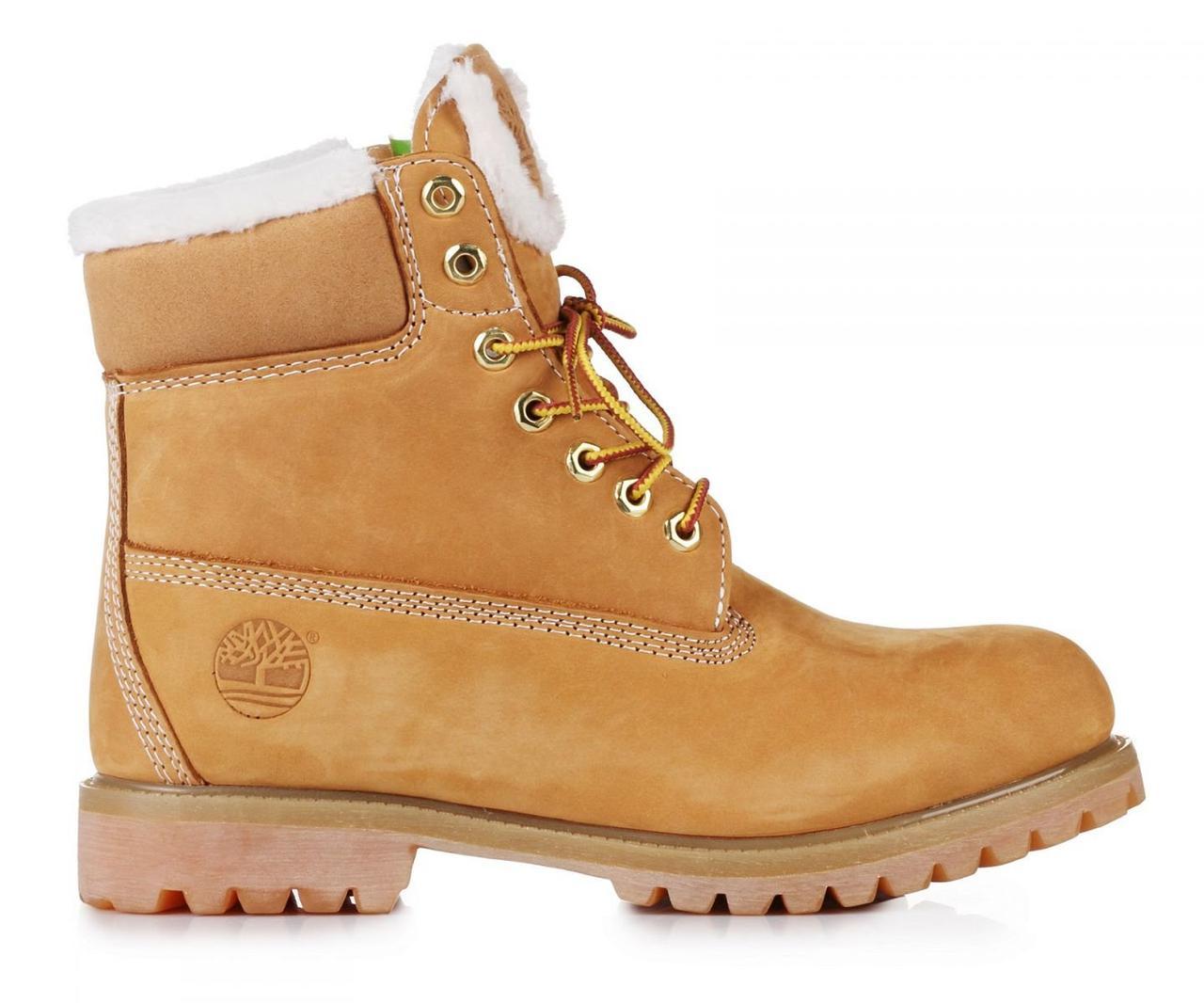 Оригинальные женские ботинки Тимберленд original Classic 6 inch Yellow Winter Fur рыжие оригинал