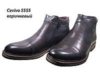 Ботинки мужские зимние  натуральная кожа коричневые на молнии (5555 кор), фото 1