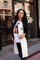 Белое модное молодежное осеннее кашемировое пальто на кнопках и с черными кожаными рукавами. Арт-9393/6, фото 1