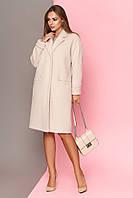 Стильне жіноче пальто шерсть в стилі оверсайз світло бежевий розмір 42 44  46 48 50 52 eb9612012f162