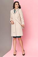 Класичне демісезонне жіноче пальто полуприталене шерсть світло бежевий  розмір 42 44 46 48 50 52 44 79a62131e5b97