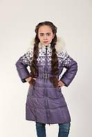 Детское зимнее пальто для девочки 17SIRENEVOE 158, 164 см Сиреневое