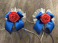 Украшения на ручки свадебного авто розы, бутоньерки на ручки