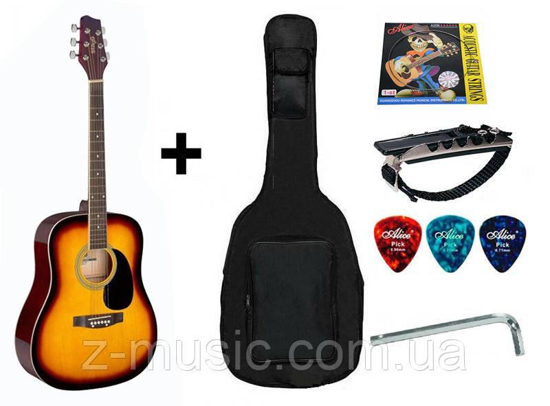 Акустична гітара (4/4) STAGG (чохол+капа+медіатор+струна+ключ)