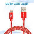 Кабель Promate linkMate-LTF Lightning-USB 1.2 м Red, фото 4