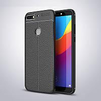 Чехол Huawei Y7 2018 / Y7 Prime 2018 / Honor 7C / Honor 7C Pro силикон Original Auto Focus Soft Touch черный