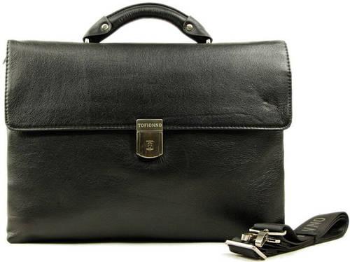 Стильный портфель из кожи с отделением для ноутбука Tofionno 02880-1 черный