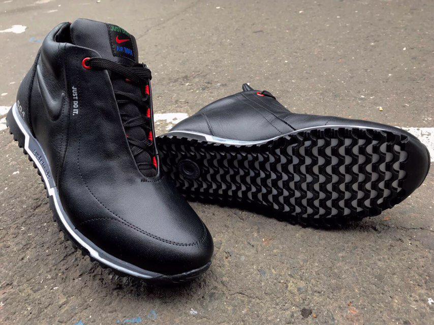 Хит! Мужские зимние ботинки Nike Air Max Just Do It  натуральная кожа черные