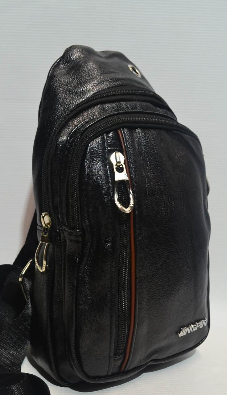 Мужская сумка слинг из кожзама