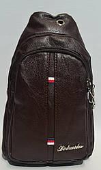 Мужская сумка слинг из кожзама коричневого цвета