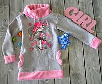 Детская пайта из трикотажа с начесом для девочки с аппликацией накаткой 86-122 р