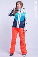 Горнолыжный костюм женский 10000 голубой / оранжевый L