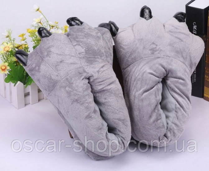 Домашние тапочки кигуруми Лапы Серые до 39 размера