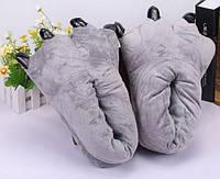 Домашние тапочки кигуруми Лапы Серые до 39 размера, фото 1