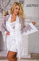 Красивый женский халат с широкими рукавами с кружевом шантилье Шерил Fleur Lingerie