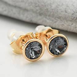 Серьги с кристаллами Swarovski 21420 размер 7*7 мм, цвет серебряная ночь, позолота 18К