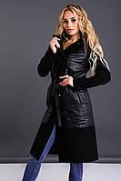 Черное удлиненное стильное синтепоновое женское пальто с кашемировыми рукавами и капюшоном. Арт-9396/6, фото 1