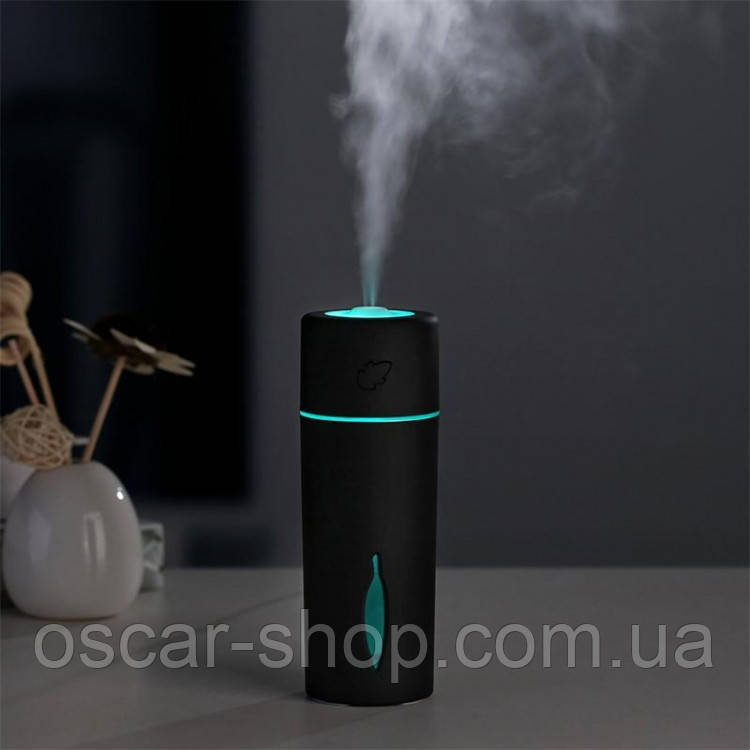 Мини увлажнитель воздуха Листик humidifier Black с LED подсветкой работает от USB