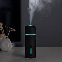 Мини увлажнитель воздуха Листик humidifier Black с LED подсветкой работает от USB, фото 1