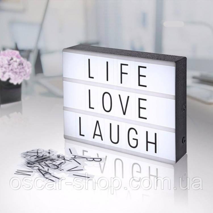 Интерьерный лайтбокс с буквами (А4 102 буквы) ночник  имеет LED подсветку