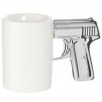 Чашка Пістолет біла з срібною ручкою
