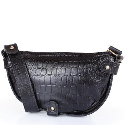 Женская кожаная сумка-клатч LASKARA (ЛАСКАРА) LK-DM232-black-croco