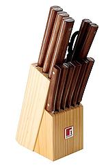 Набор кухонных ножей Bergner Florence 12 предметов и деревянная колода (BG-8910-MM_psg)