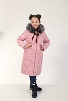 Детское зимнее пальто для девочки 19PUDRA 150, 160 см Пудра