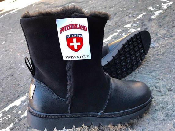 Угги мужские зимние из натуральной кожи, натуральный мех на липучке Swiss черные, фото 2