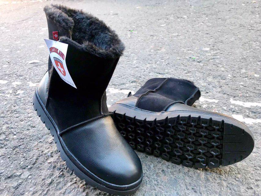 Угги мужские зимние из натуральной кожи, натуральный мех на липучке Swiss черные