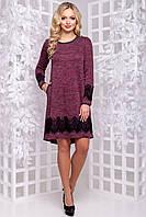 Очаровательное Платье Асимметрия из Ангоры с Кружевом Марсала М-2XL, фото 1