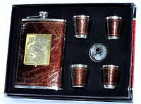 Стильный мужской набор для виски Jim Beam: кожаная фляга, 4 рюмки, лейка