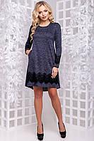 Очаровательное Платье Асимметрия из Ангоры с Кружевом Темно-Синее М-2XL, фото 1