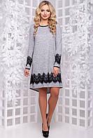 Очаровательное Платье Асимметрия из Ангоры с Кружевом Серое М-2XL, фото 1