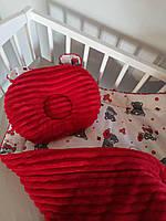Детская ортопедическая подушка вишневая, фото 1