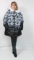 Женская батальная зимняя куртка с капюшоном и принтом снежинки, 62-66р