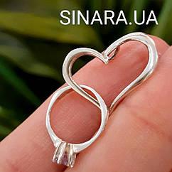 Серебряная подвеска Сердце с кольцом  - Кулон Сердце и кольцо серебро 925